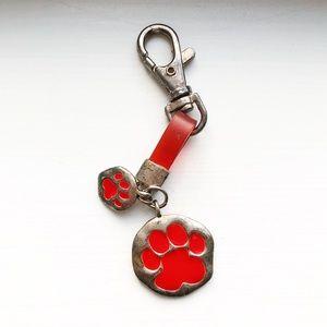 Vintage silver & red dog paw print keychain